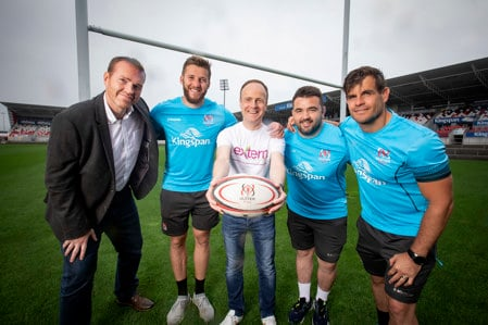 Image of volunteers with Ulster Rugby players
